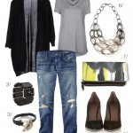 glammed out boyfriend jeans and a basic t-shirt