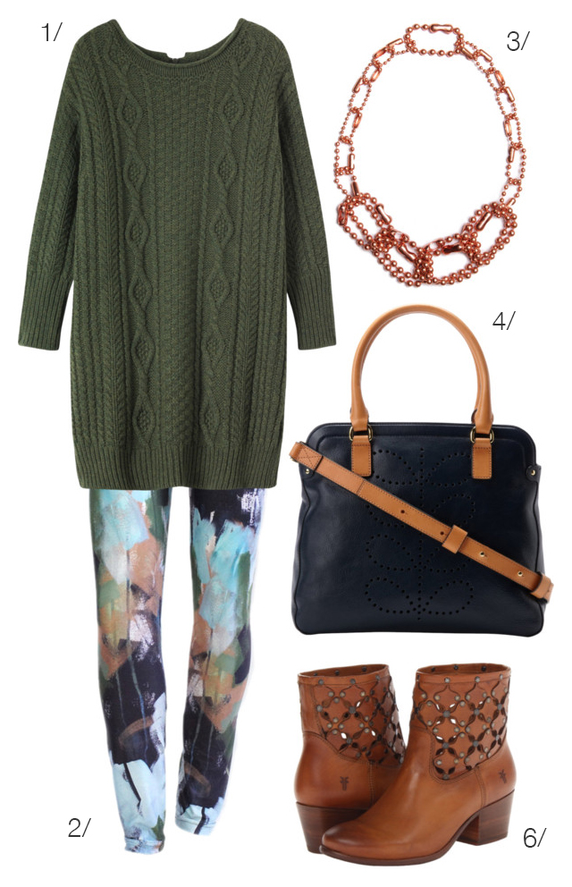 hunter green and painterly leggings via megan auman