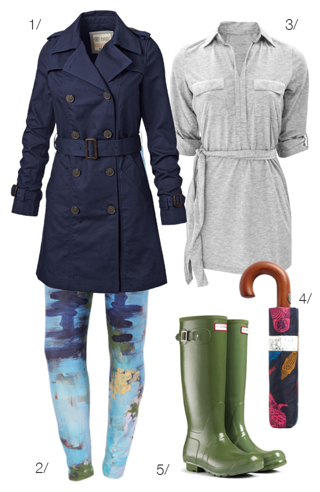 rainy day outfit with printed leggings by megan auman