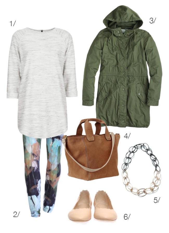spring transitional dressing featuring printed leggings by megan auman