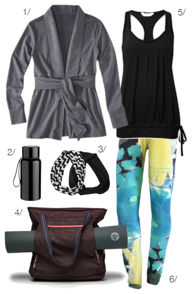 yoga outfit featuring printed leggings by megan auman