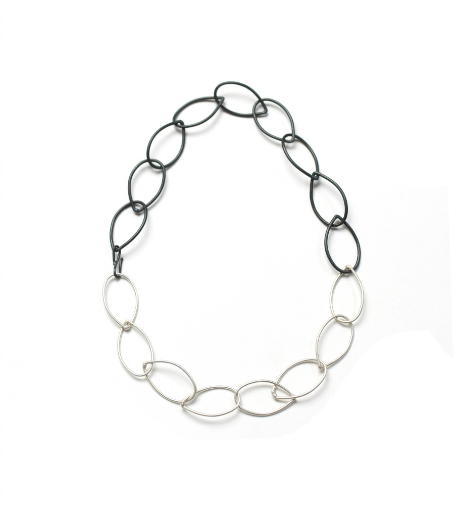 black and silver two-tone necklace by megan auman