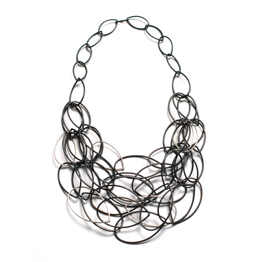 maya necklace - black and silver statement necklace by megan auman