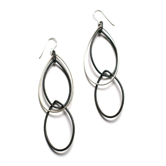 kathrine earrings - black and silver earrings by megan auman