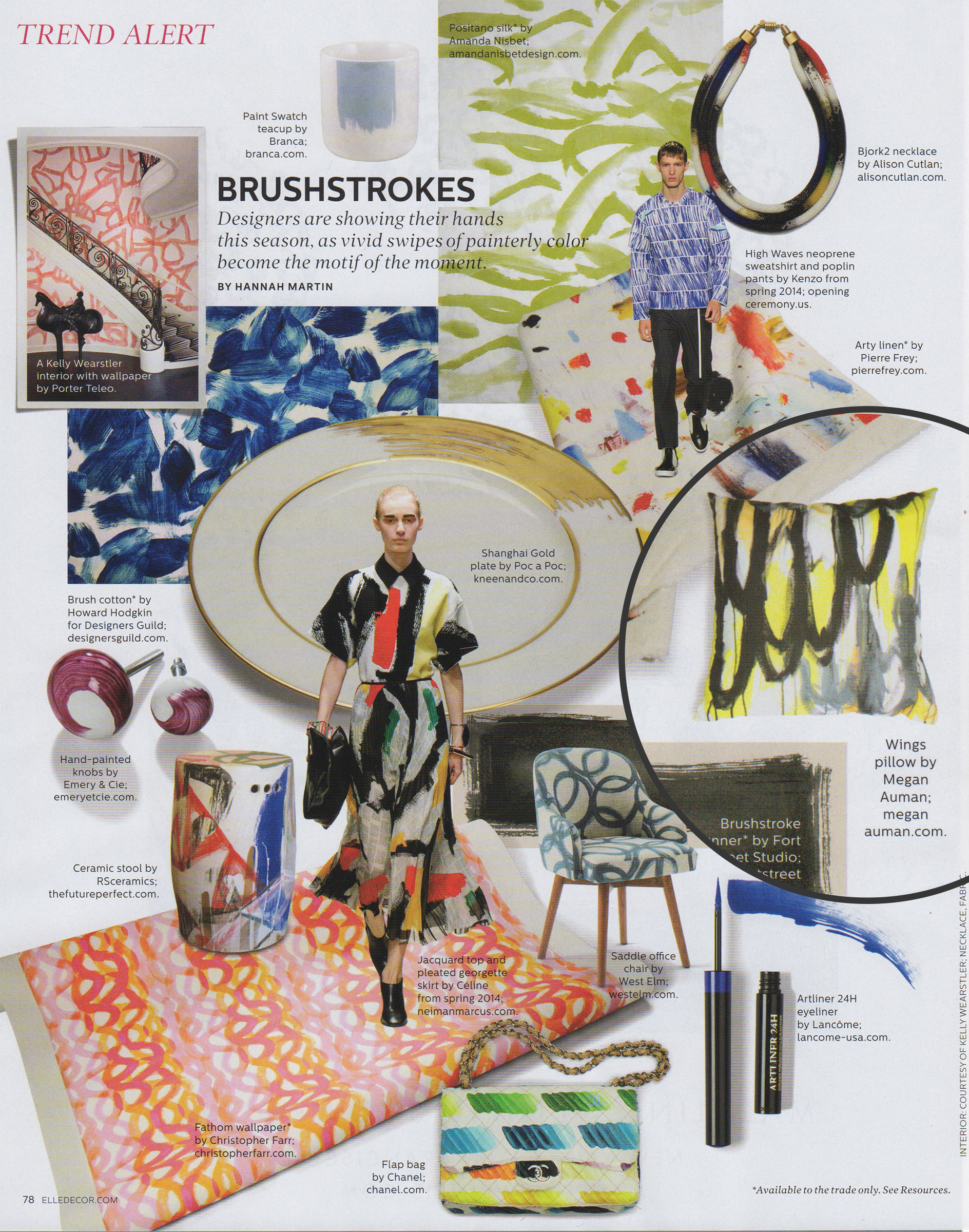 Elle Decor trend alert - brushstrokes - featuring Wings Pillow by megan auman