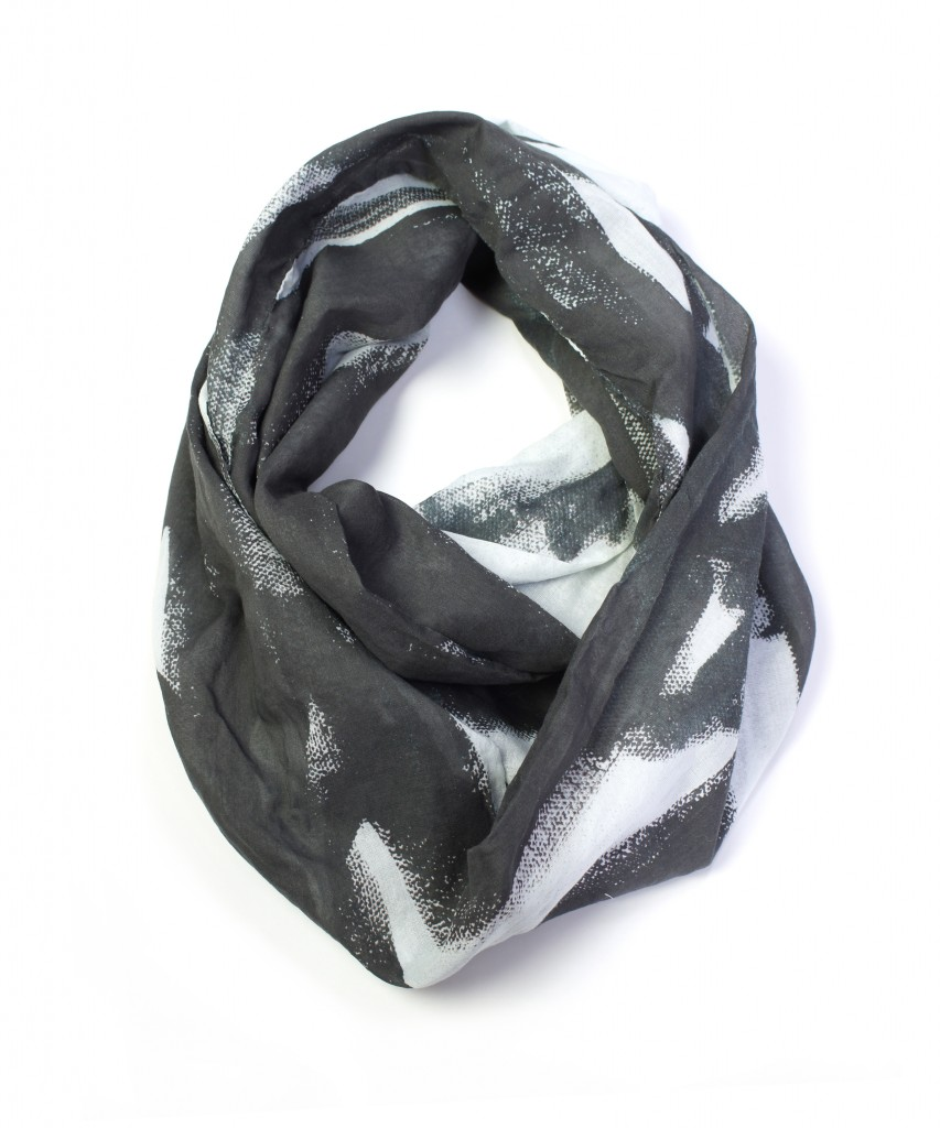 magpie black and white lightweight cotton scarf