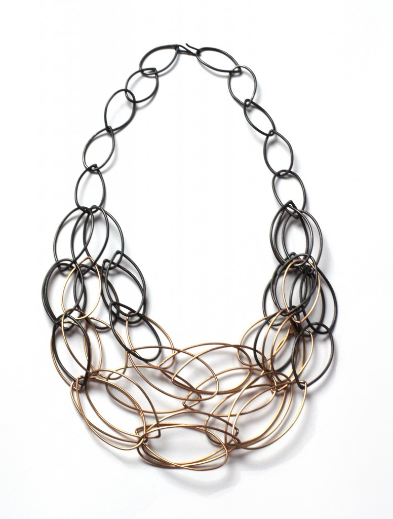 maya two-tone statement necklace by megan auman