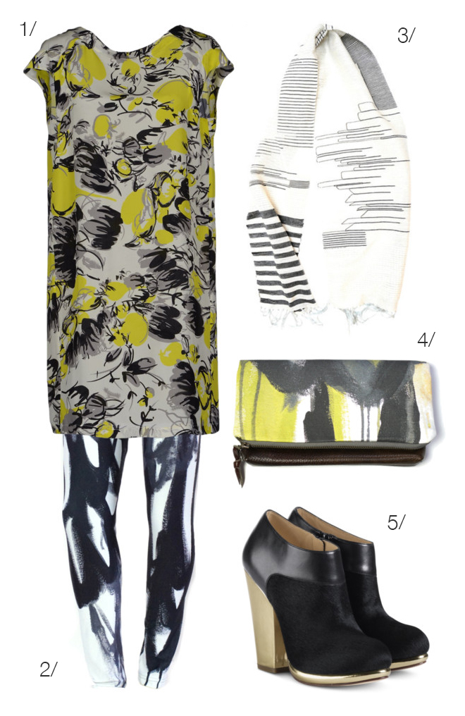 mixed prints in yellow, black, and white featuring printed leggings by megan auman