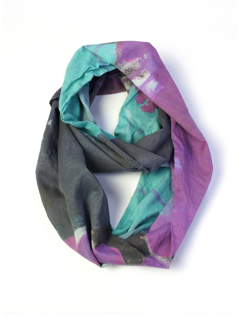 wild orchid and teal lightweight scarf by megan auman