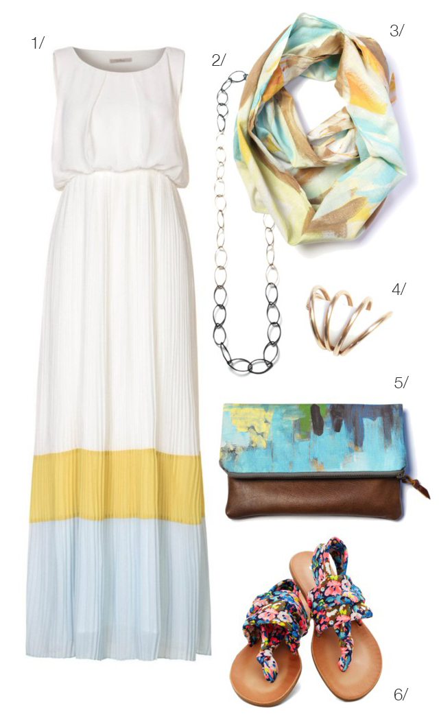 what to wear to a summer soiree - maxi dress and long necklace - via megan auman