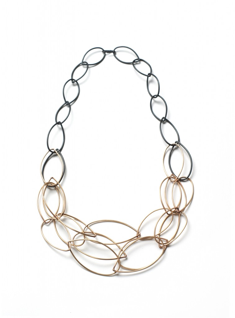 emma necklace - steel and bronze two-tone, ombre statement necklace by megan auman