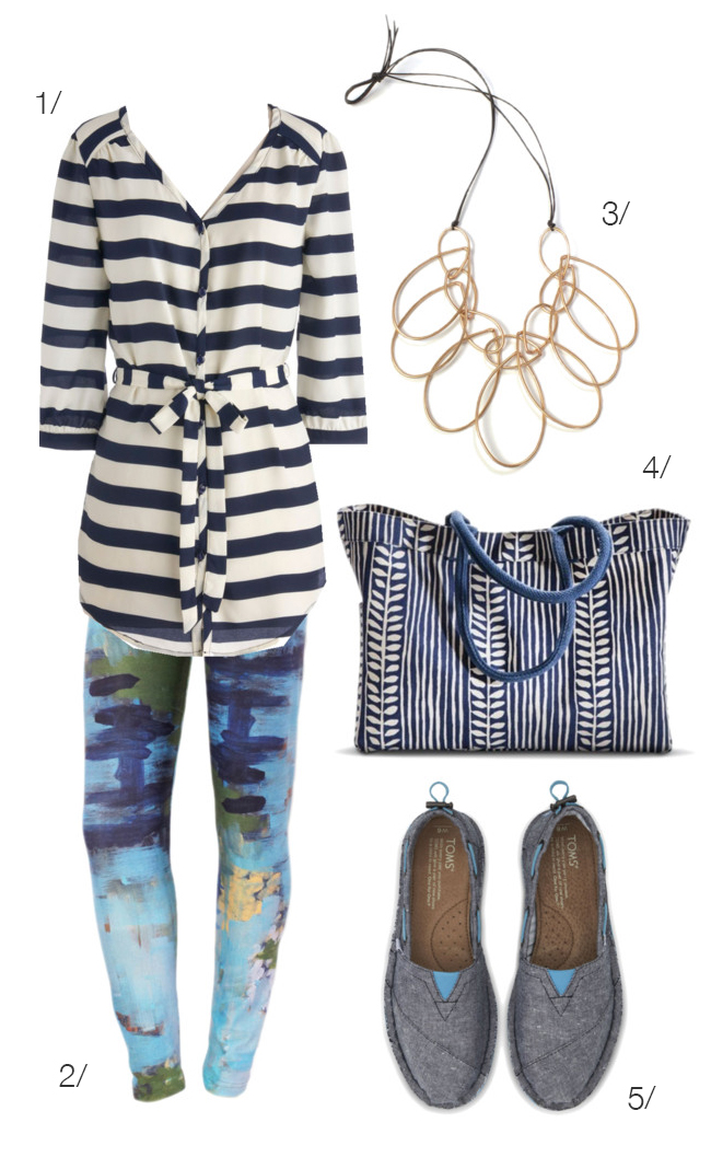 real world outfit: artsy meets preppy // featuring striped top and printed leggings // via megan auman
