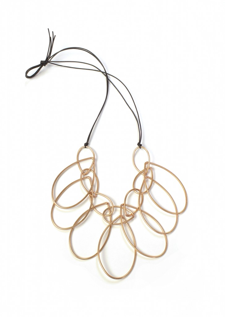 melissa necklace - bronze and leather statement necklace by megan auman