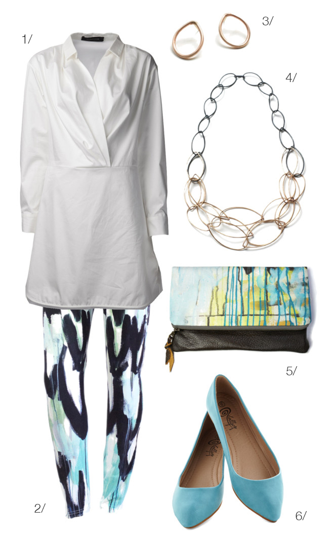 classic white shirt and printed leggings via megan auman