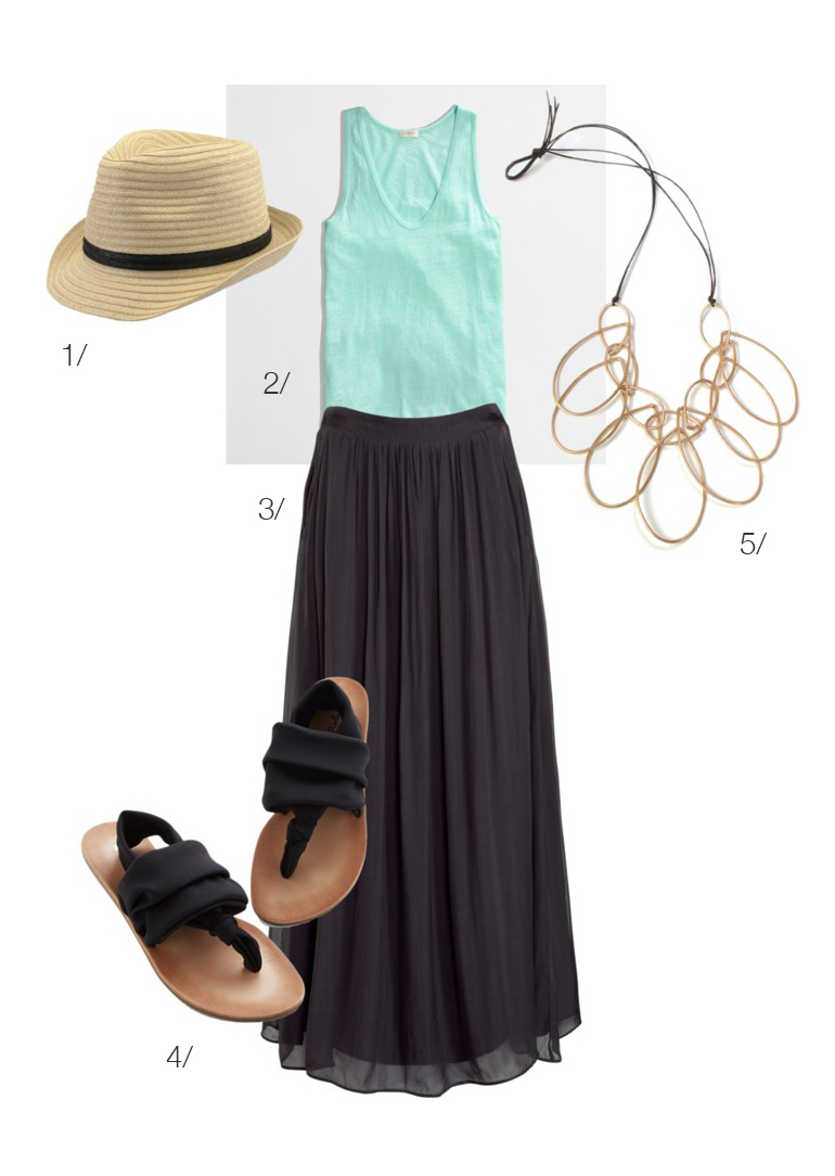 easy summer style // maxi skirt, tank top, sandals, and a statement necklace // via megan auman
