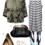 pattern mixing: embellished military jacket and printed leggings