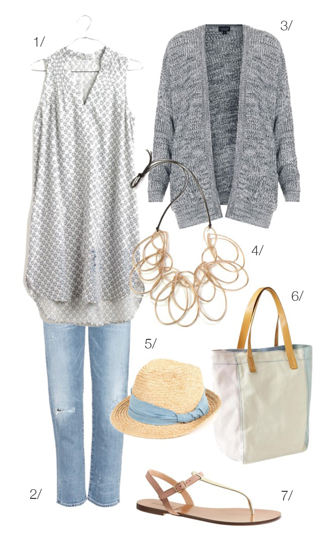 a perfect outfit for strolling the farmers' market // featuring the iris statement necklace by megan auman