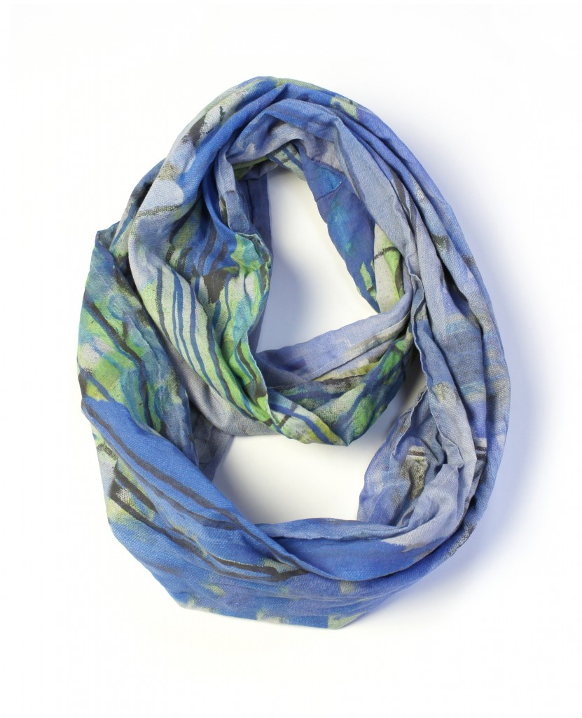 giverny scarf - periwinkle and green lightweight scarf