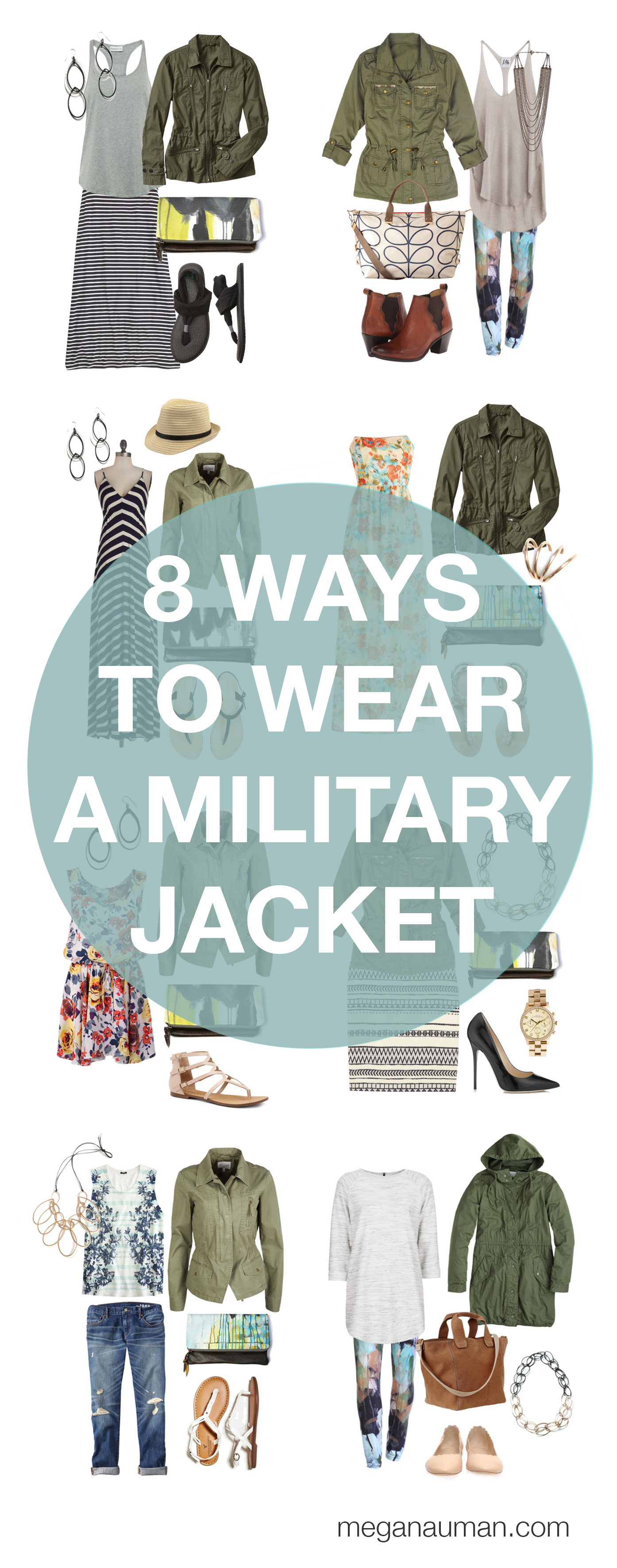 how to wear a military jacket - 8 ways to style your military jacket via megan auman