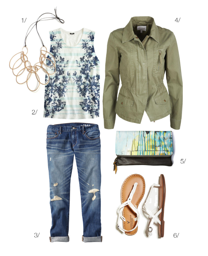 how to wear a military jacket with boyfriend jeans - featuring a megan auman statement necklace