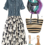 patterned skirt and chambray shirt