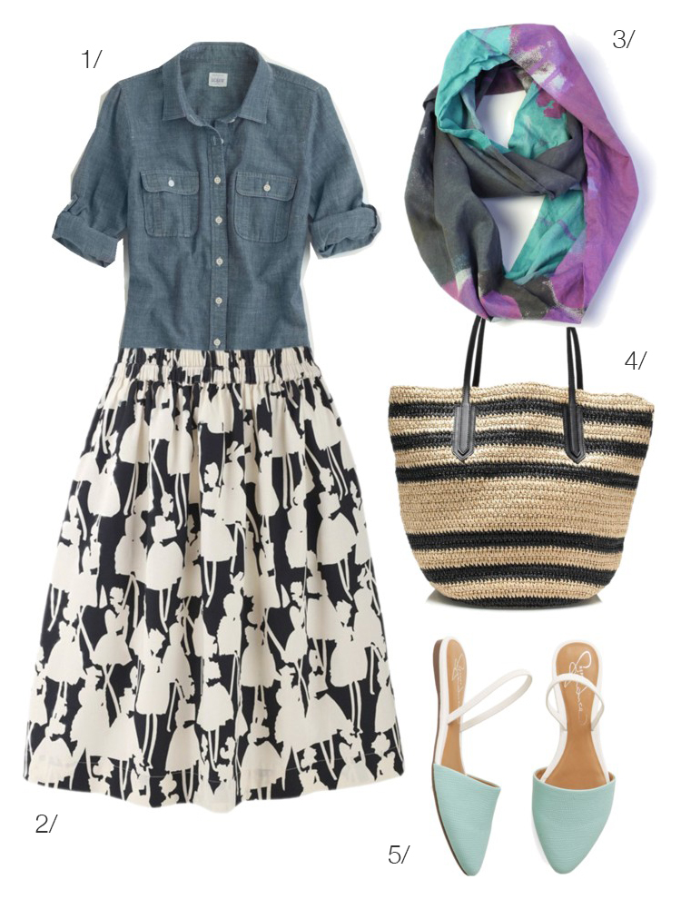 patterned skirt and chambray shirt with colorful lightweight scarf by megan auman