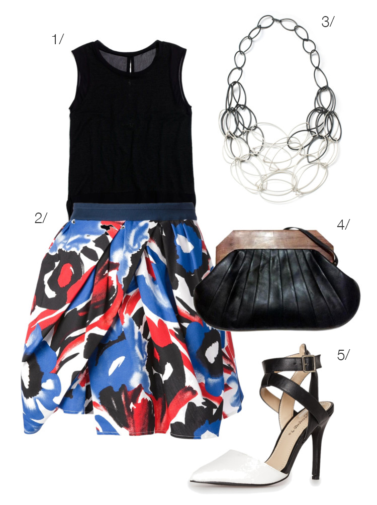 painterly red, white, and blue skirt plus black accessories and a statement necklace // via megan auman