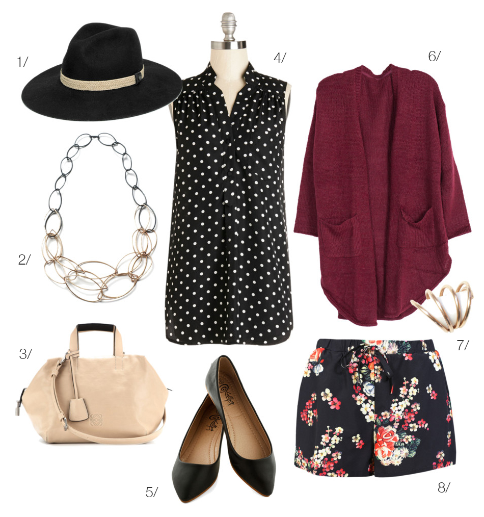 street style inspired: floral shorts with a cardigan and ballet flats featuring megan auman jewelry