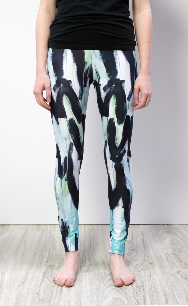 wings leggings - black, white, teal, and aqua printed leggings by megan auman
