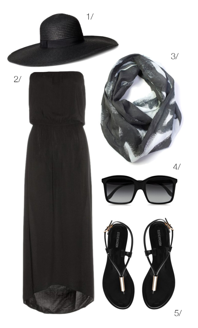 how to wear black in summer: maxi dress, straw hat, lightweight scarf // click for outfit details