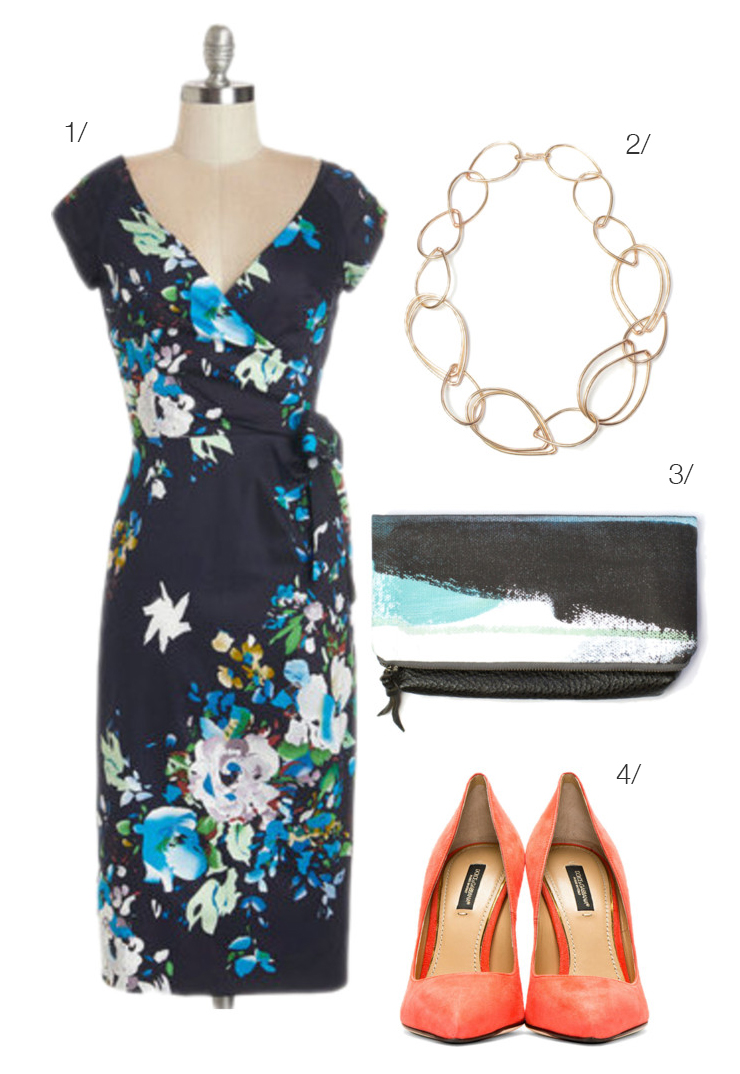 what to wear to brunch: retro floral wrap dress, chain link necklace, clutch // click for outfit details