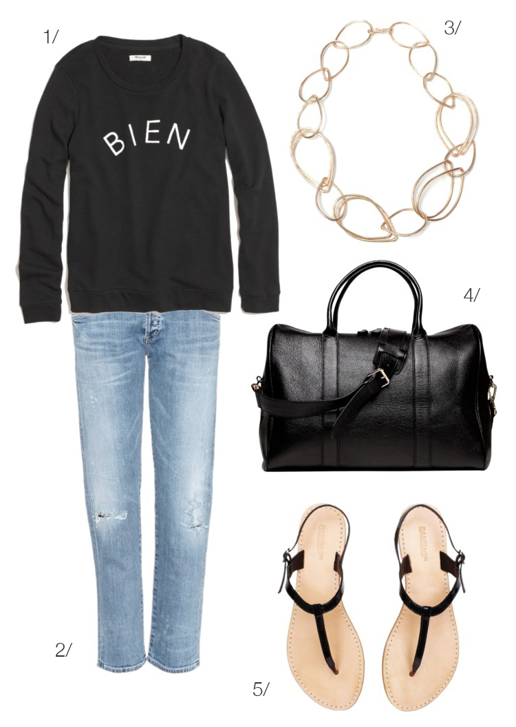 casual travel style // jeans, sweatshirt, sandals, and chunky necklace // click for outfit details