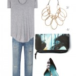 jeans, t-shirt, and a statement necklace
