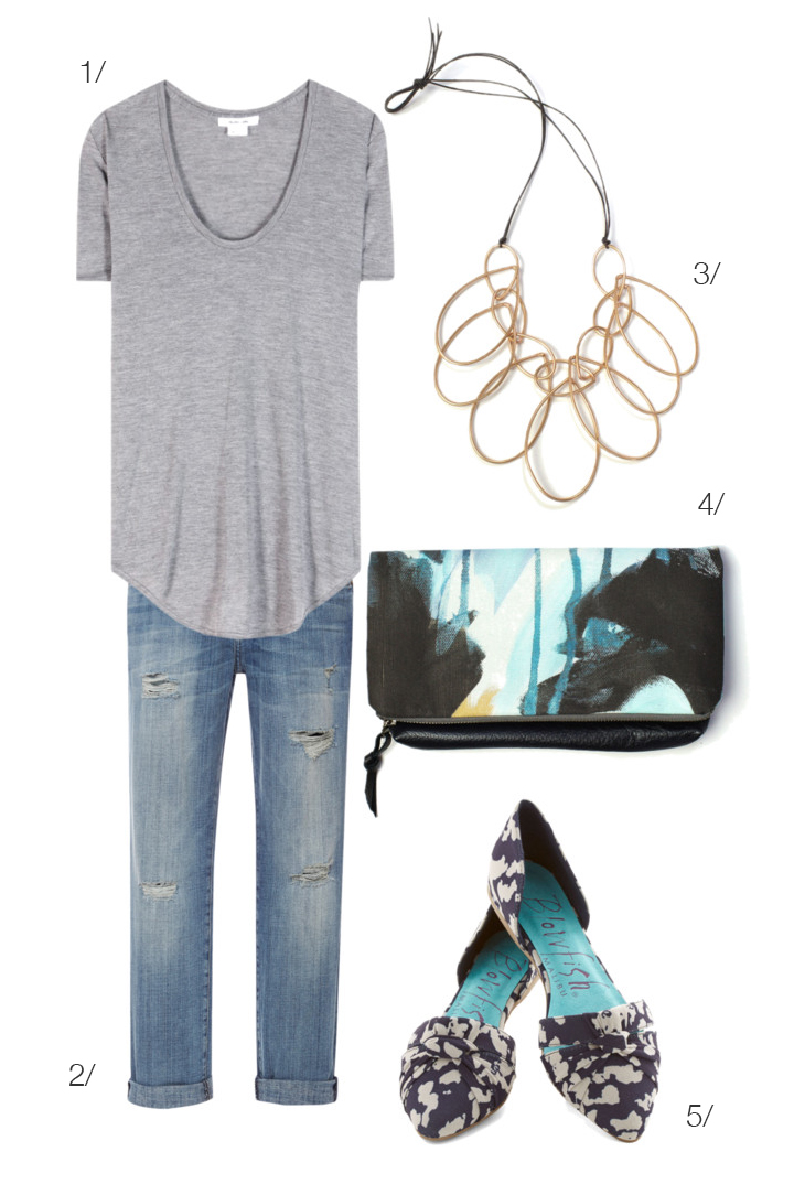jeans, t-shirt, and a statement necklace // via megan auman // click for outfit details