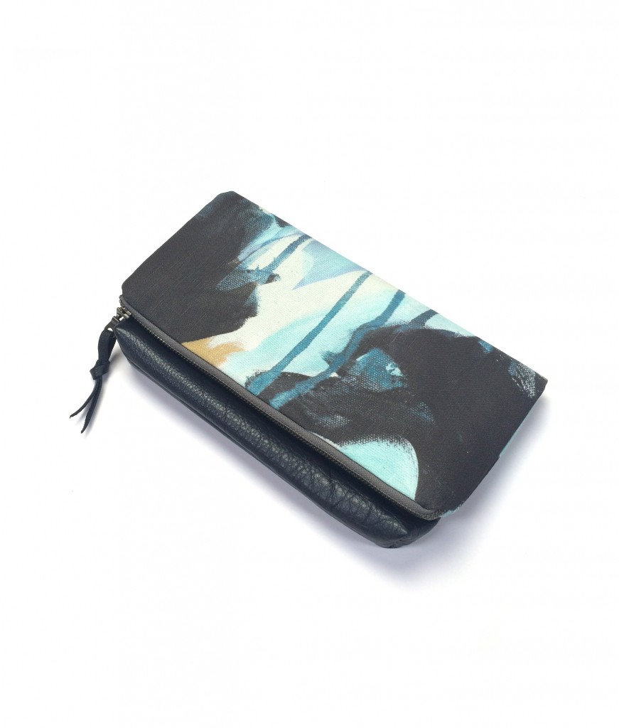 oyster foldover clutch purse // painterly fabric