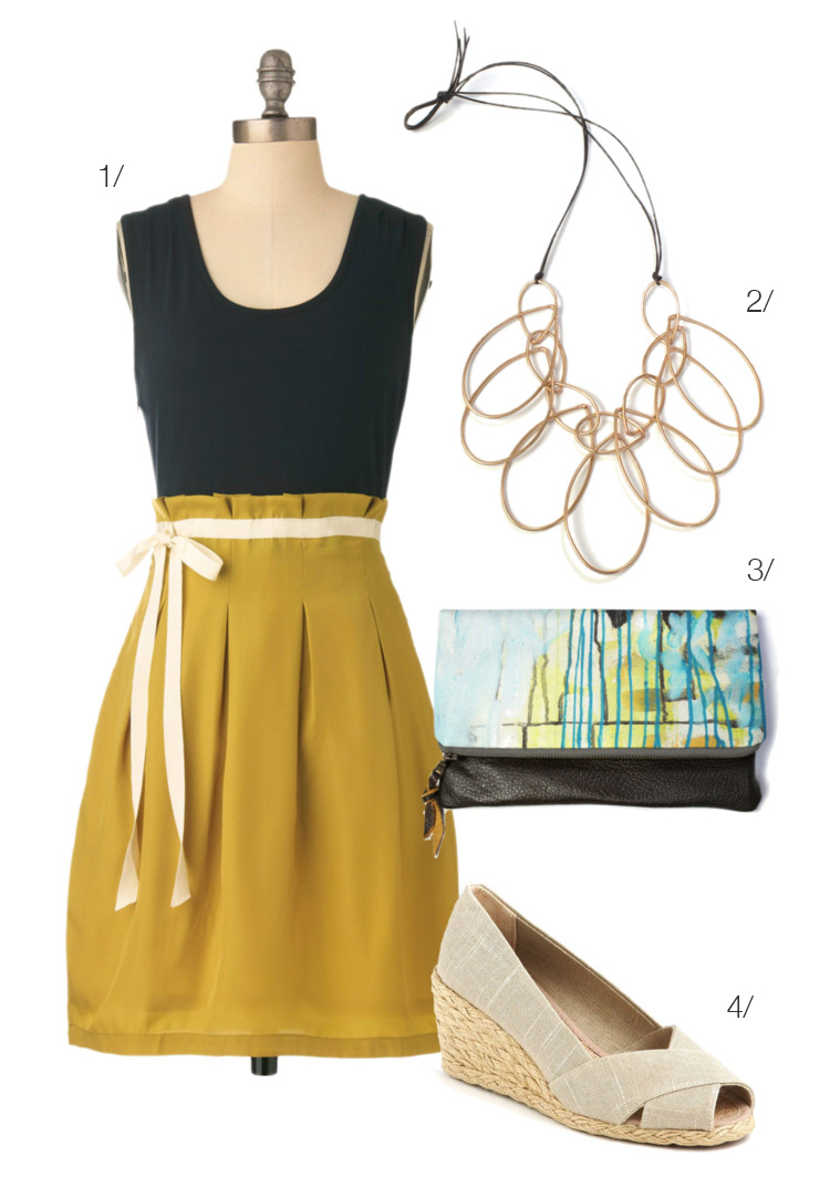 colorblock dress, statement necklace, clutch, wedges // click for outfit details