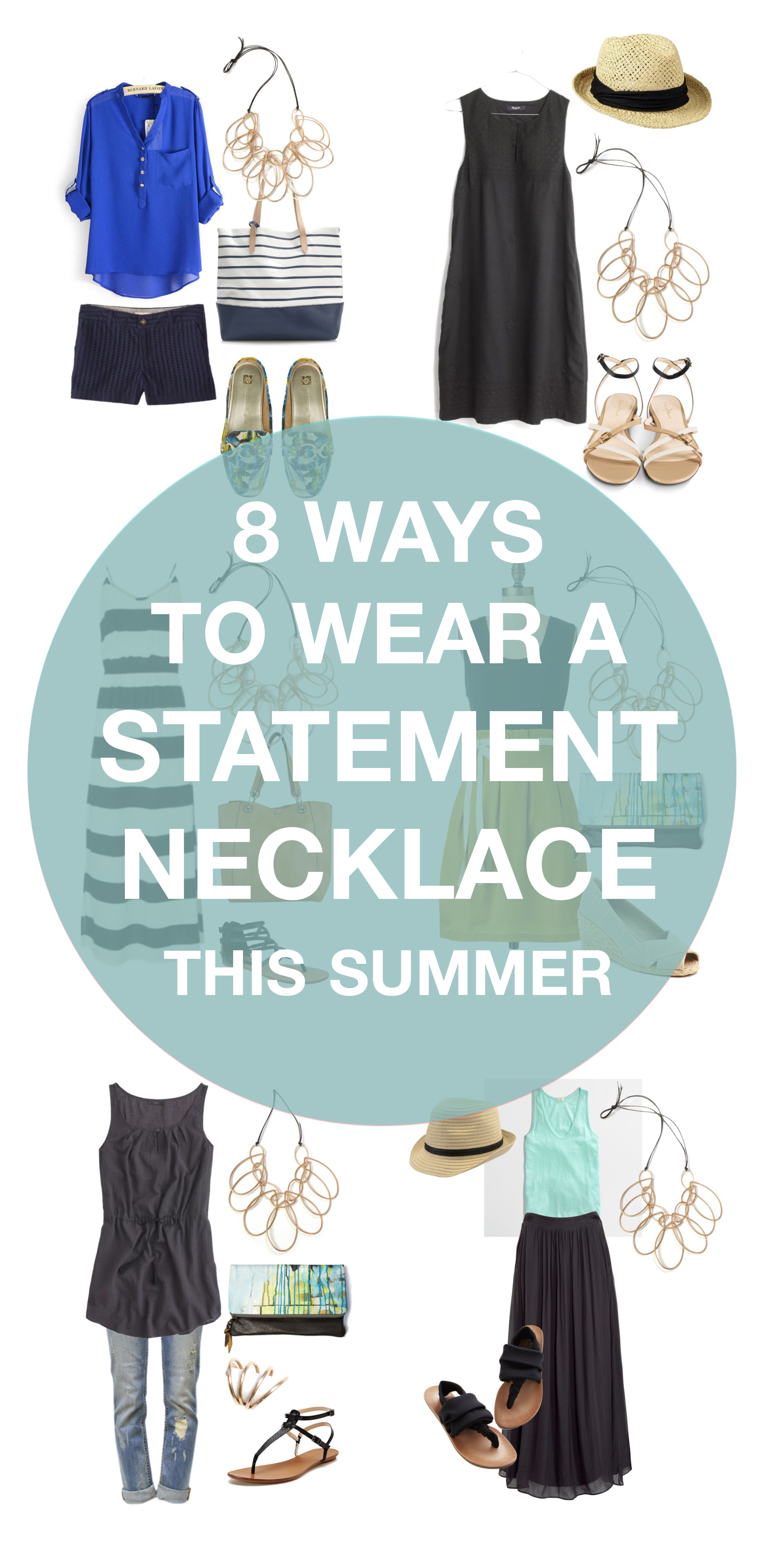 how to wear a statement necklace in summer: 8 outfit ideas to try // via megan auman