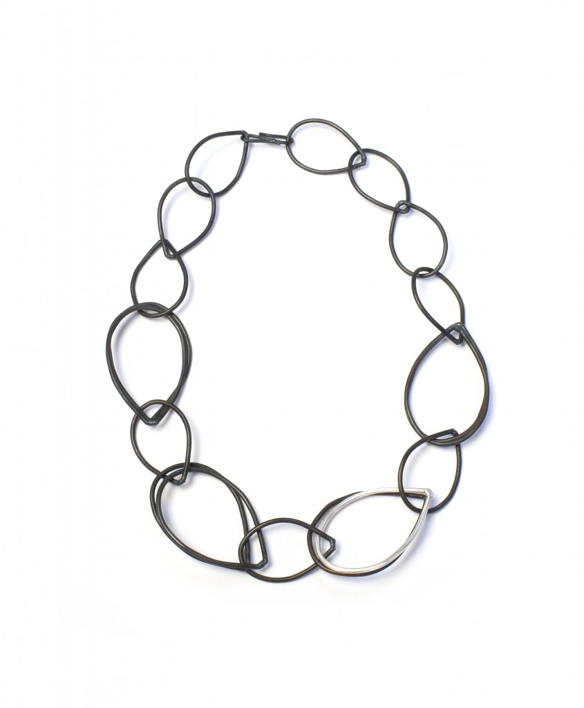 Amy necklace // black and silver chain link necklace