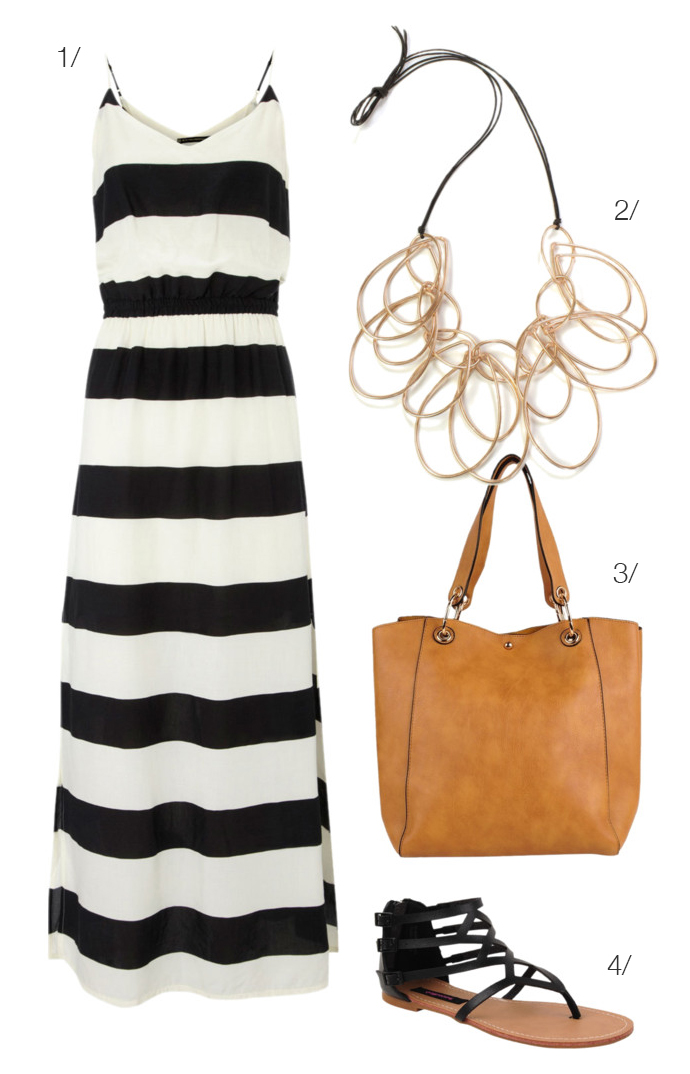 black and white maxi skirt, statement necklace, gladiator sandals // click for outfit details