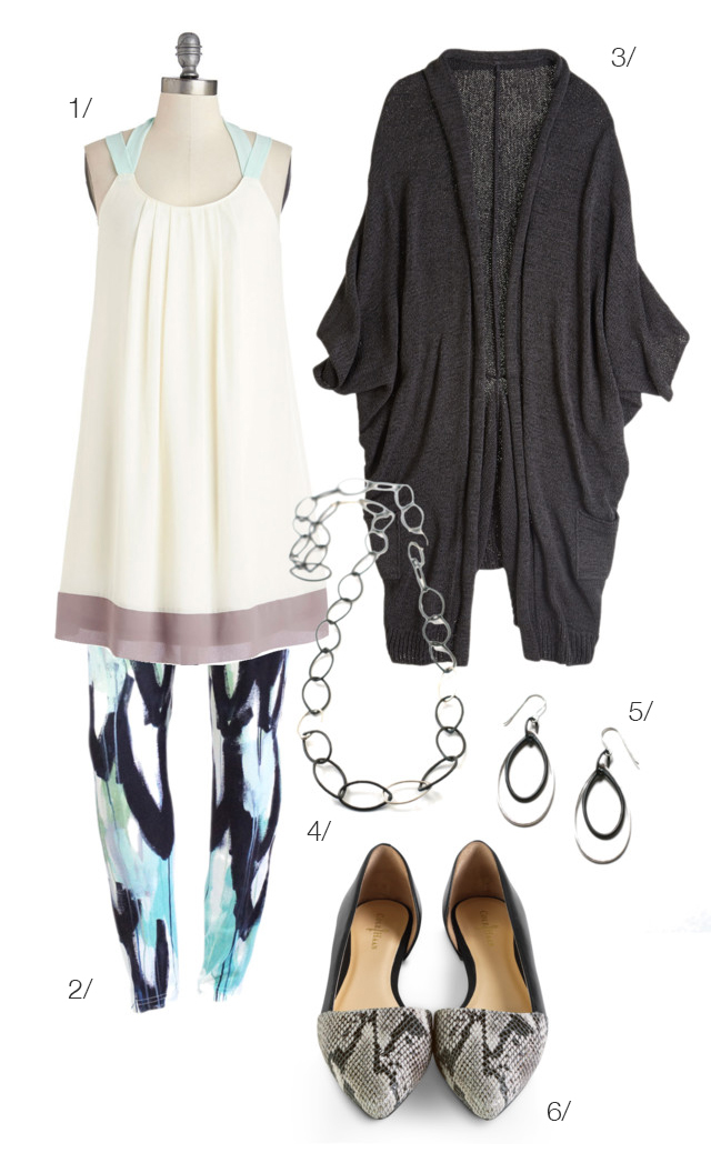 dress, printed leggings, cardigan, d'orsay flats // click for outfit details