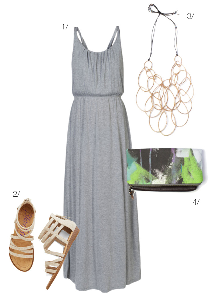 summer style: maxi dress, statement necklace, clutch purse // click for outfit details