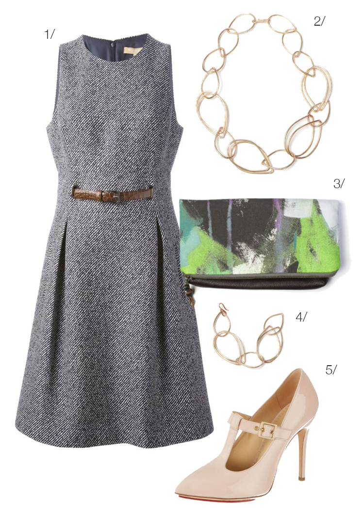meeting style // belted dress, chain link necklace, buckle heels // #workwear