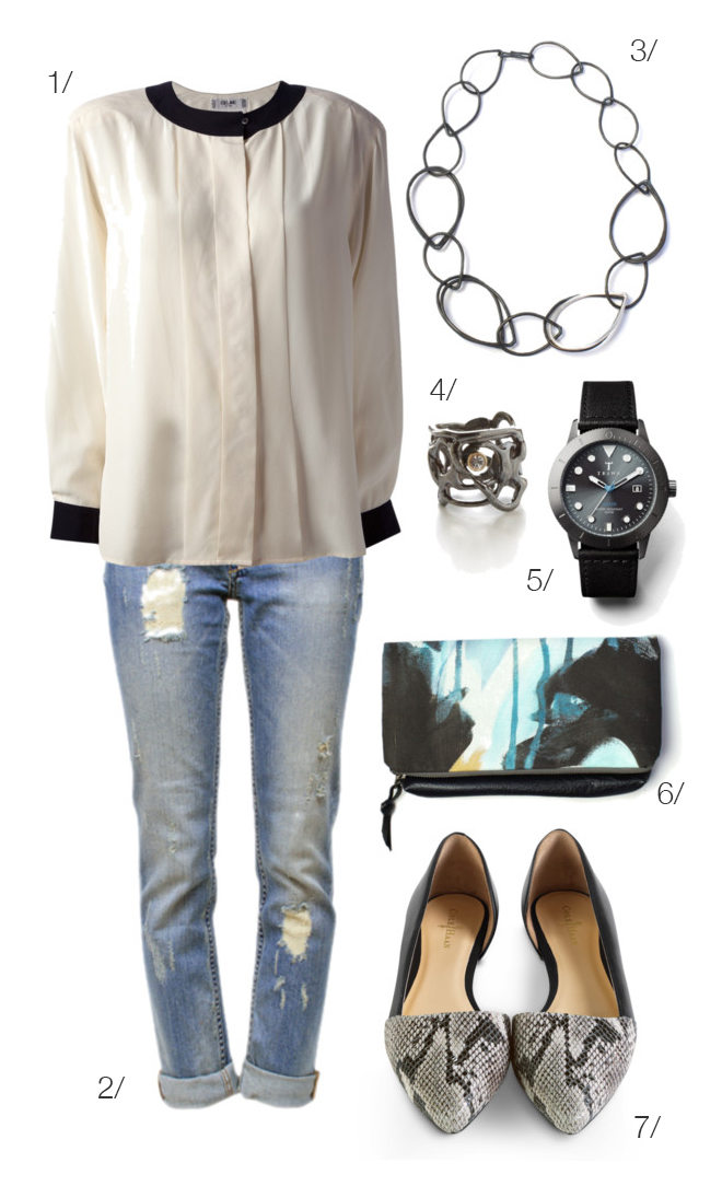 how to dress up distressed denim // black and white top, d'orsay flats, foldover clutch, chain link necklace