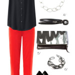 a chic way to wear red pants