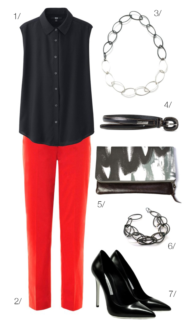 red pants and black accessories // click for outfit details
