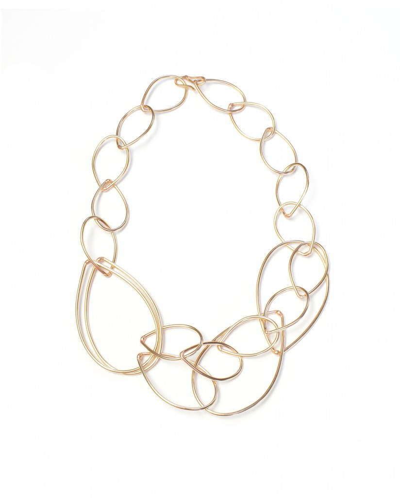 daphne necklace - bronze chain link statement necklace