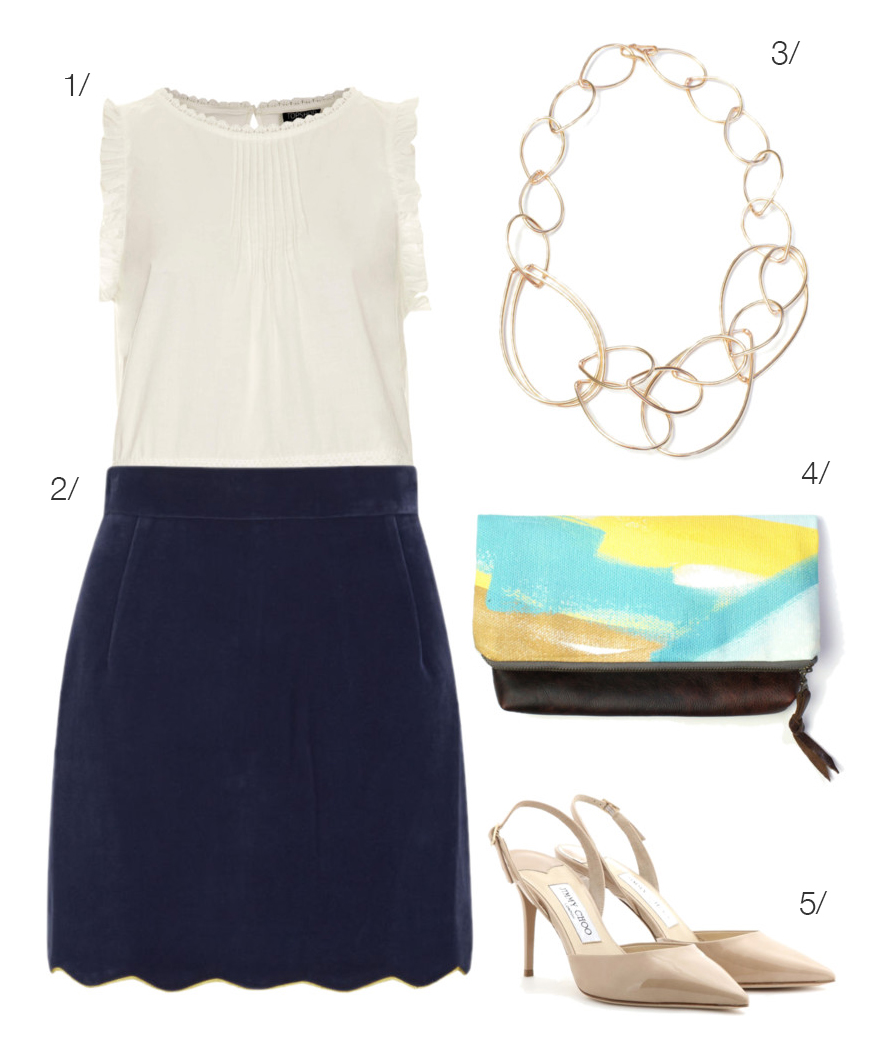 the perfect outfit for brunch, meeting the parents, or your cousin's wedding // navy scalloped skirt, clutch, chain link necklace // click for outfit details