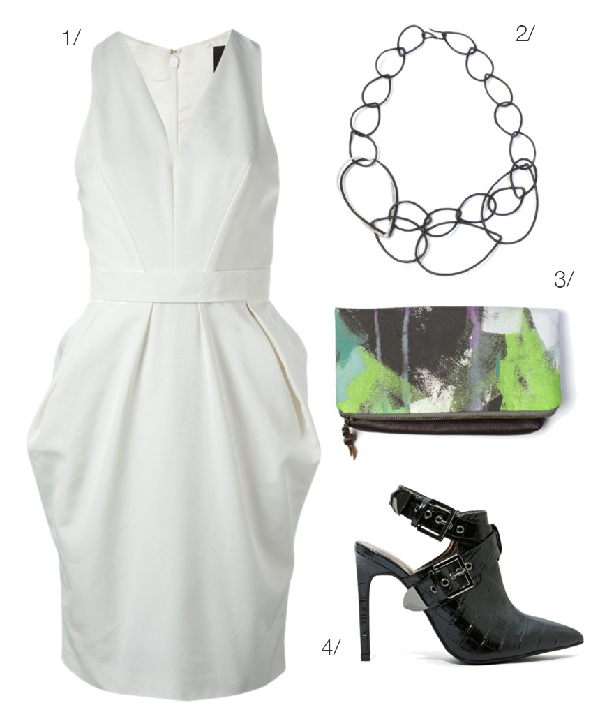 little white dress, black chain link necklace, black point toe heels // click for outfit details