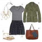 real world outfit: ikat skirt and military jacket