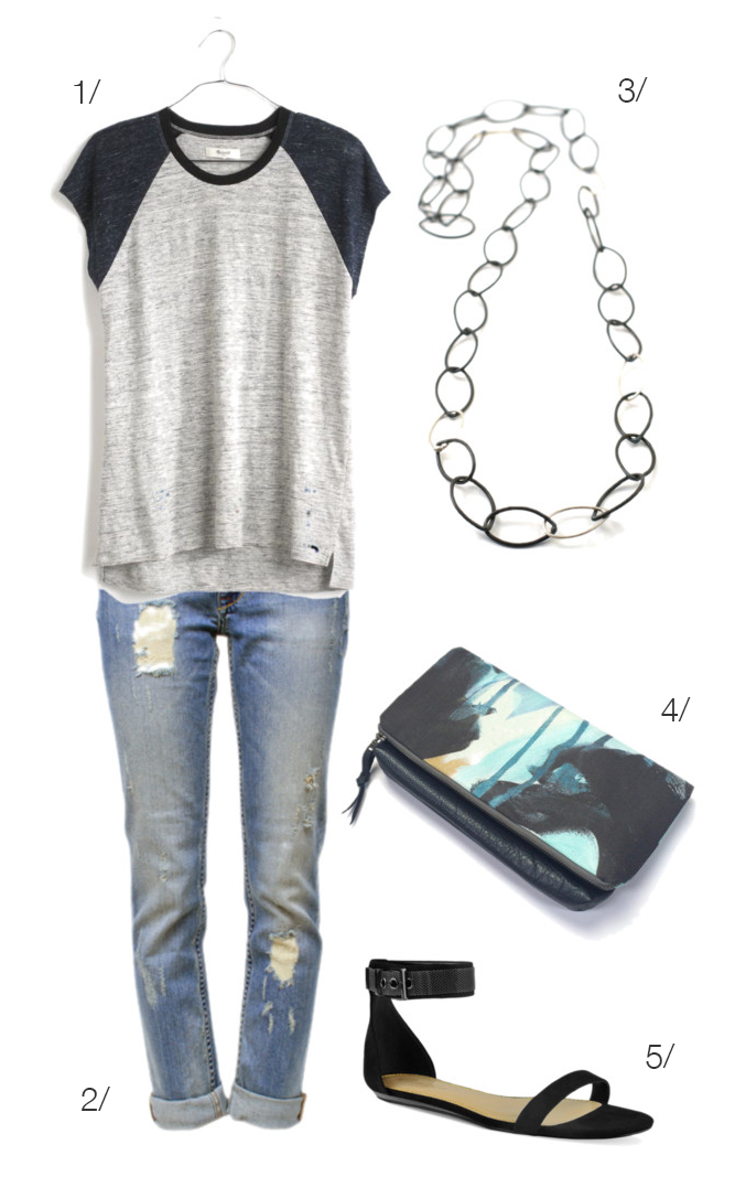 jeans and a t-shirt paired with a long necklace and great clutch // click for outfit details